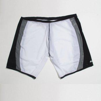 Fashion Men's Trunk Rapid Splice Square Solid Jammer Shorts Jammers Swim Suit - BLACK/WHITE/PURPLE M