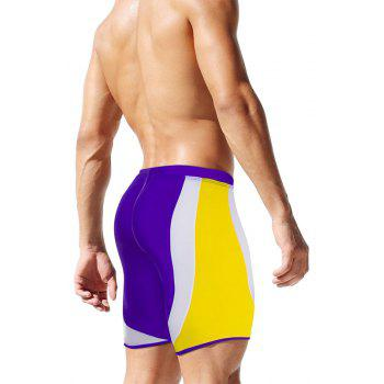 Fashion Men's Trunk Rapid Splice Square Solid Jammer Shorts Jammers Swim Suit - PURPLE S