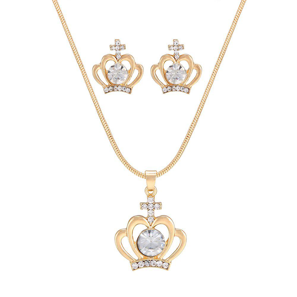 Simple Classic Crown Rhinestone Pendant Necklace Set - GOLDEN