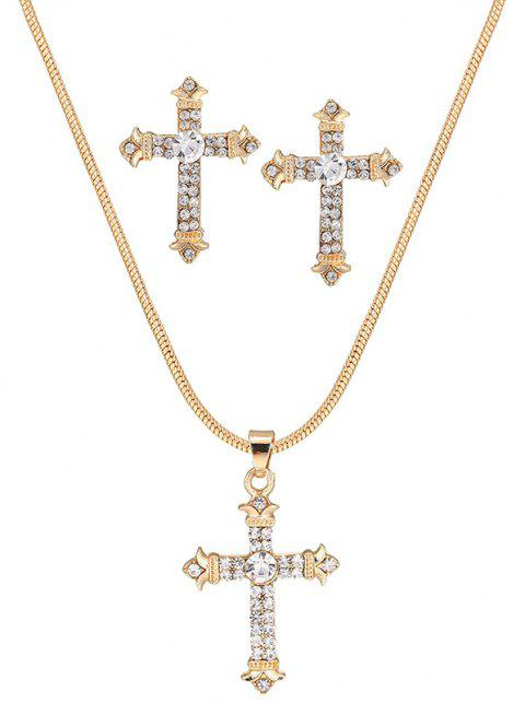 Croix Pendentif Strass Collier Set - Or