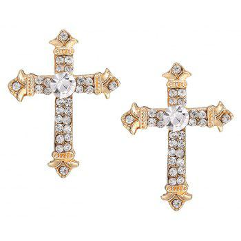 Cross Pendant Rhinestone Necklace Set - GOLDEN