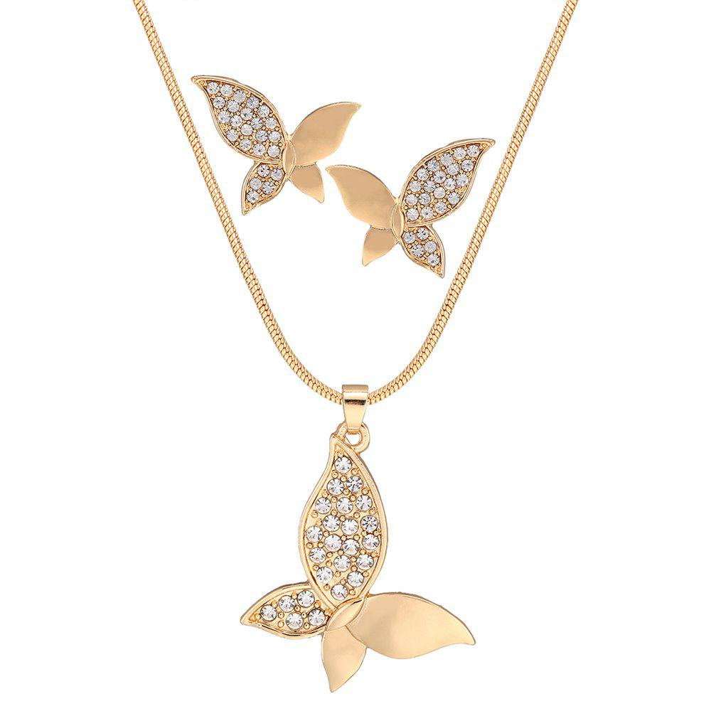 Ensemble de collier de papillon frais strass - Or