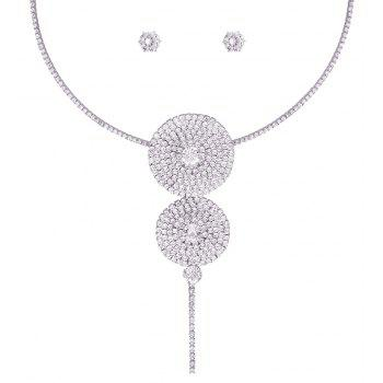 Round String Pendant Rhinestone Necklace Set - SILVER