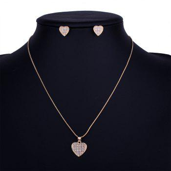Heart-shaped Hollow Rhinestone Necklace Set - GOLDEN