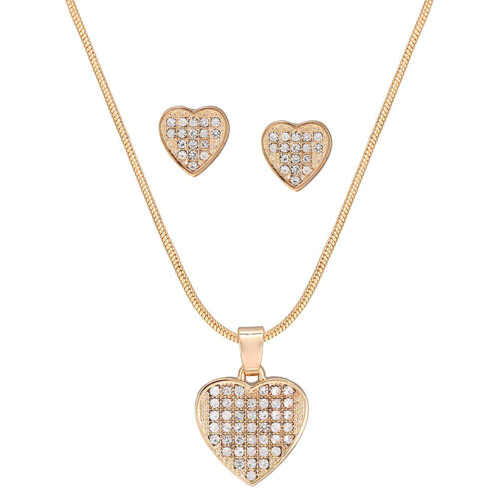 Ensemble de collier strass creux en forme de coeur - Or
