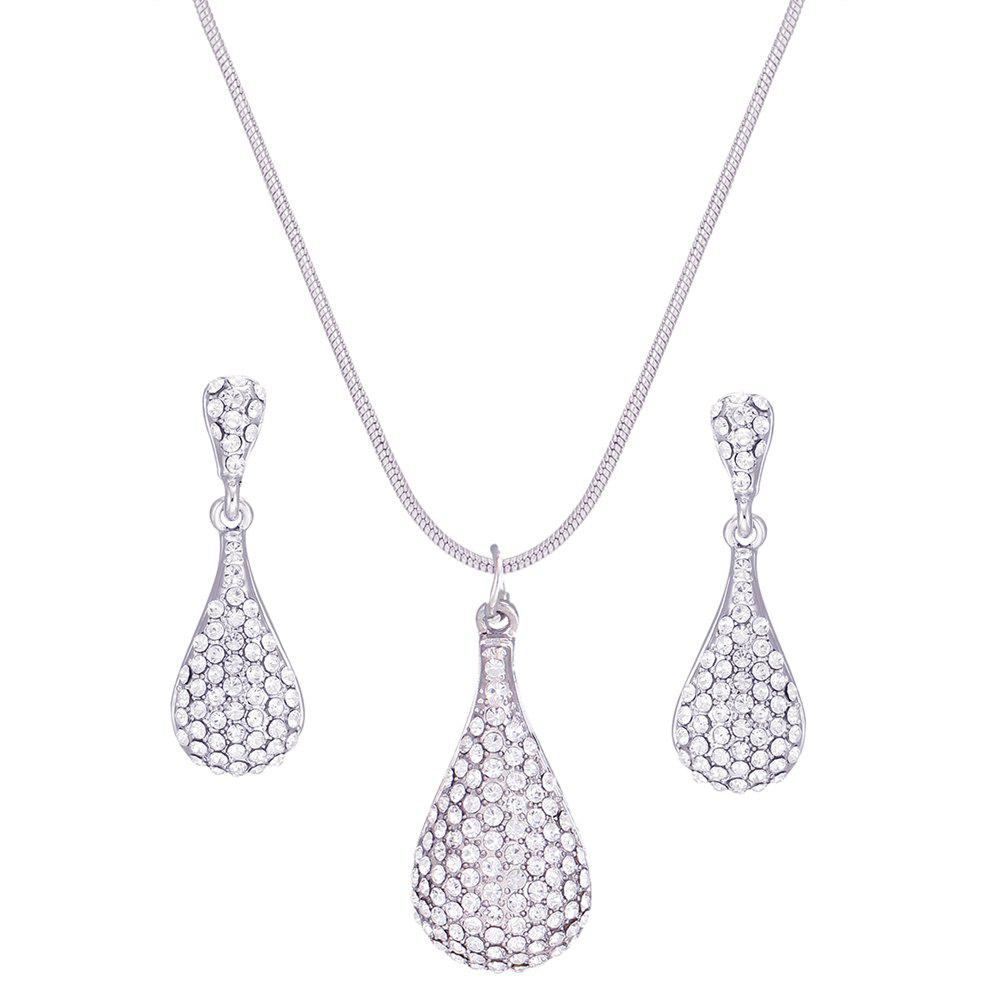 Drop Shaped Pendant Rhinestone Necklace Set - SILVER