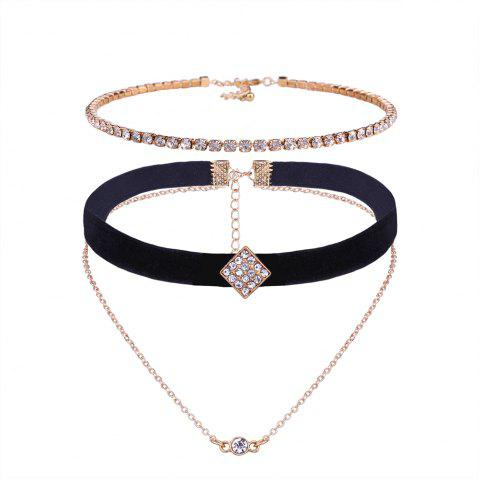 Ensemble de collier multicouche strass - d/ 39;or