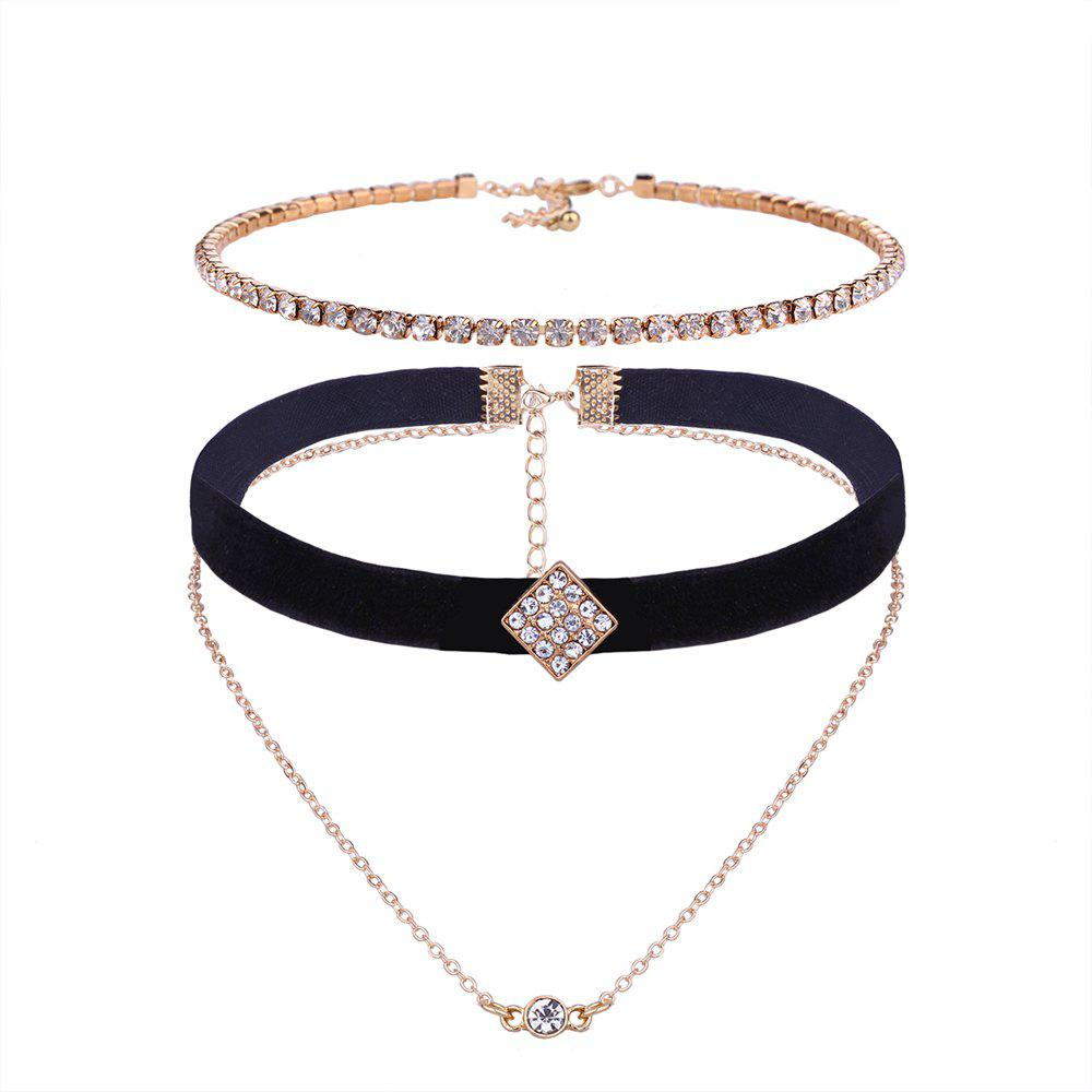 Ensemble de collier multicouche strass - Or