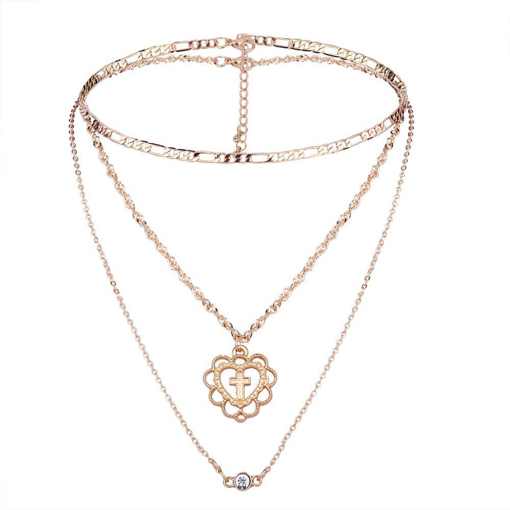 Multilayer Cross Heart Rhinestone Pendant Necklace Set - GOLDEN