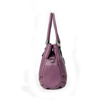 Women Soft  PU Handbag Large Capacity Shoulder Bag - PURPLE HORIZONTAL