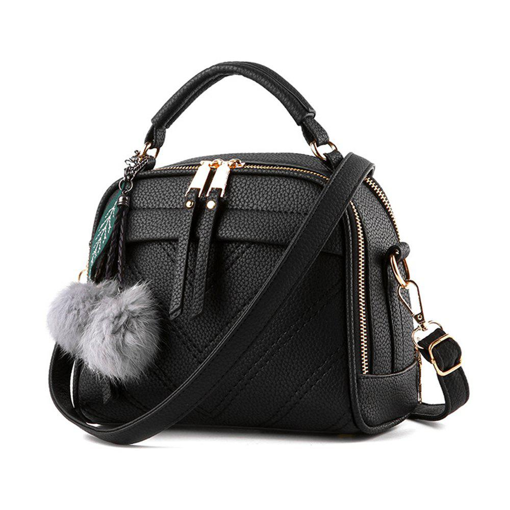 Fashion Shoulder Bag Zipper Handbag for Ladies - BLACK HORIZONTAL