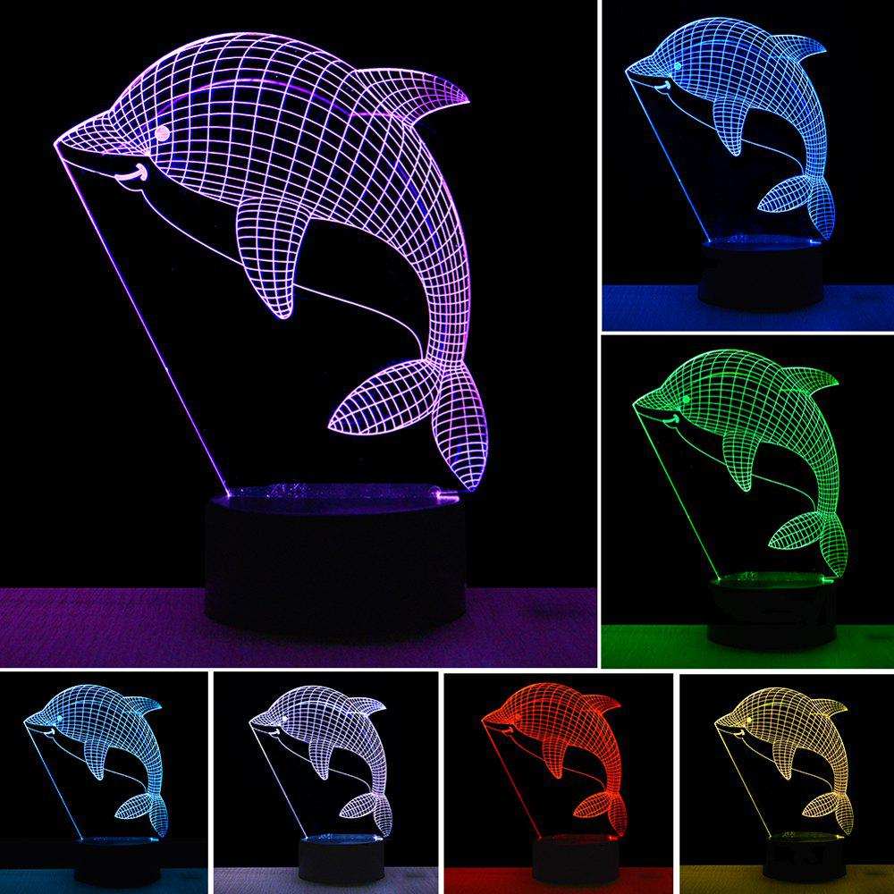 3D Dolphin Design LED Table Lamp with USB Cable Night Lights For Children Kids Gifts - COLOUR