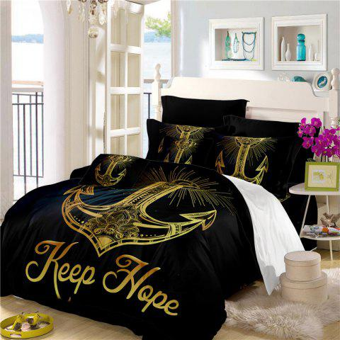 Sea Island Sacred Anchor 3D Series Bedding Three and Four Pieces Set AS27 - BLACK GOLD FULL