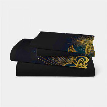 Sea Island Sacred Anchor 3D Series Bedding Three and Four Pieces Set AS27 - BLACK GOLD TWIN