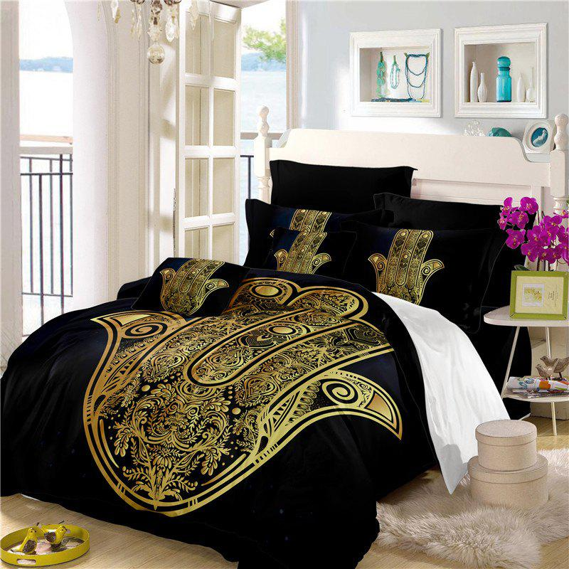 Faith Hand 3D Series Bedding Three and Four Pieces Set AS28 - BLACK GOLD FULL