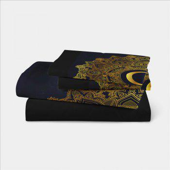 Moon Stars Personality 3D Bedding Series Three and Four Pieces AS29 - BLACK GOLD EURO KING