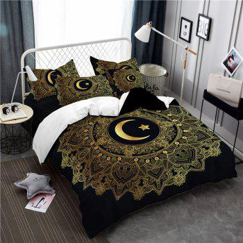 Moon Stars Personality 3D Bedding Series Three and Four Pieces AS29 - BLACK GOLD QUEEN