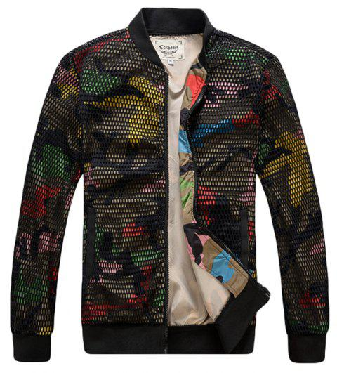 Men's Bomber Patchwork  Long Sleeve Fashionable Jacket - CAMOUFLAGE 3XL