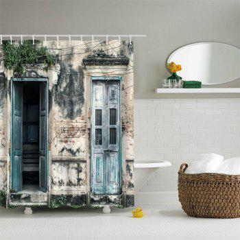 Nostalgic Wooden Door Polyester Shower Curtain Bathroom  High Definition 3D Printing Water-Proof - COLORMIX W71 INCH * L79 INCH