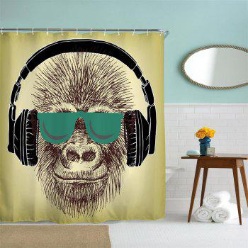 Headset Gorilla Polyester Shower Curtain Bathroom  High Definition 3D Printing Water-Proof - COLORMIX W71 INCH * L71 INCH