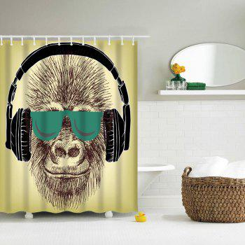 Headset Gorilla Polyester Shower Curtain Bathroom  High Definition 3D Printing Water-Proof - COLORMIX W71 INCH * L79 INCH