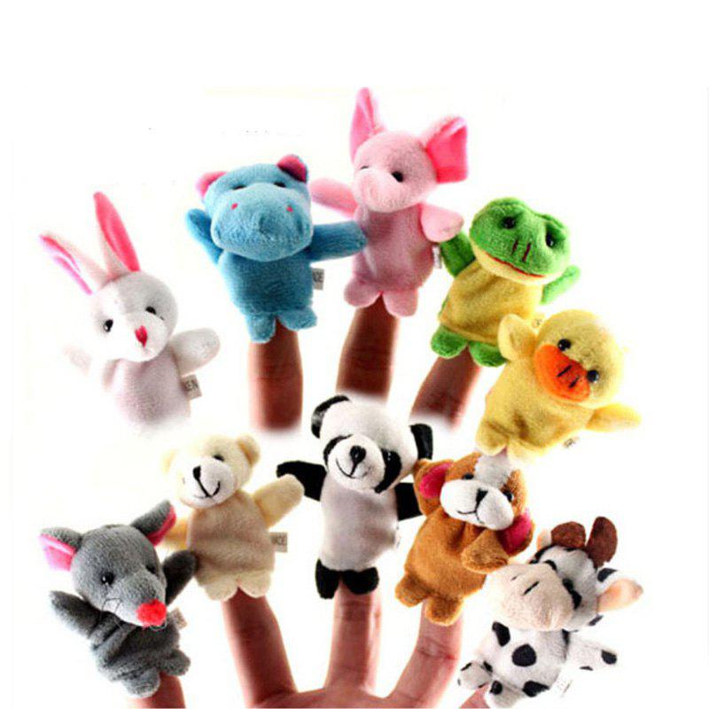Hand Puppet Puzzle Toys Cute Cartoon Animal Finger Soft Toys Dolls 10PCS - COLORMIX
