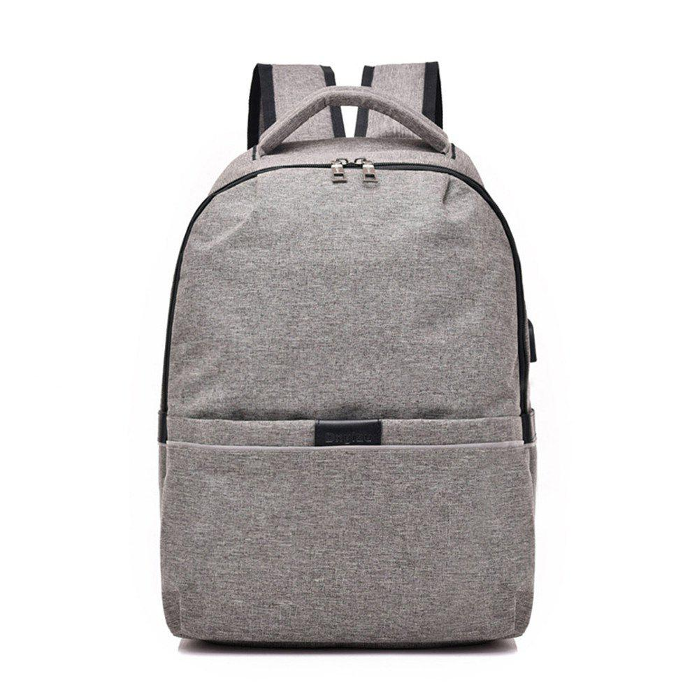 Shoulder Canvas Waterproof High School Students Intelligent Charging Backpack - GRAY