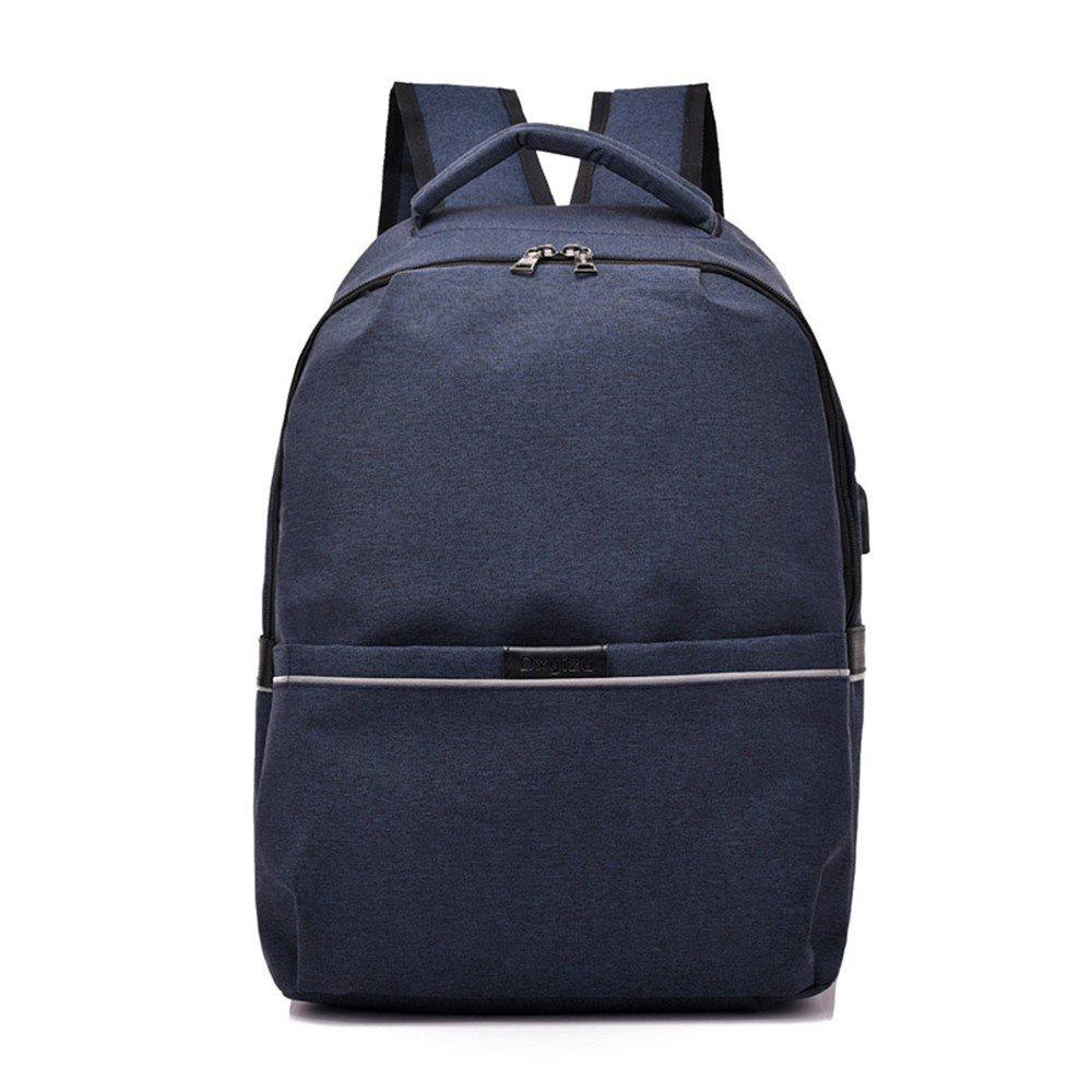 Shoulder Canvas Waterproof High School Students Intelligent Charging Backpack - BLUE