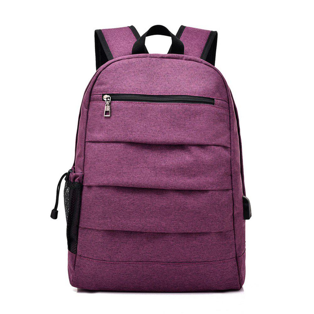 Male Charging Business Computer Travel Junior High School Students Backpack - PURPLE