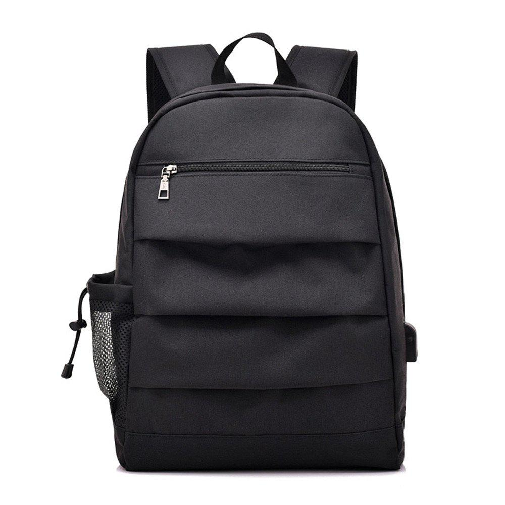 Male Charging Business Computer Travel Junior High School Students Backpack - BLACK