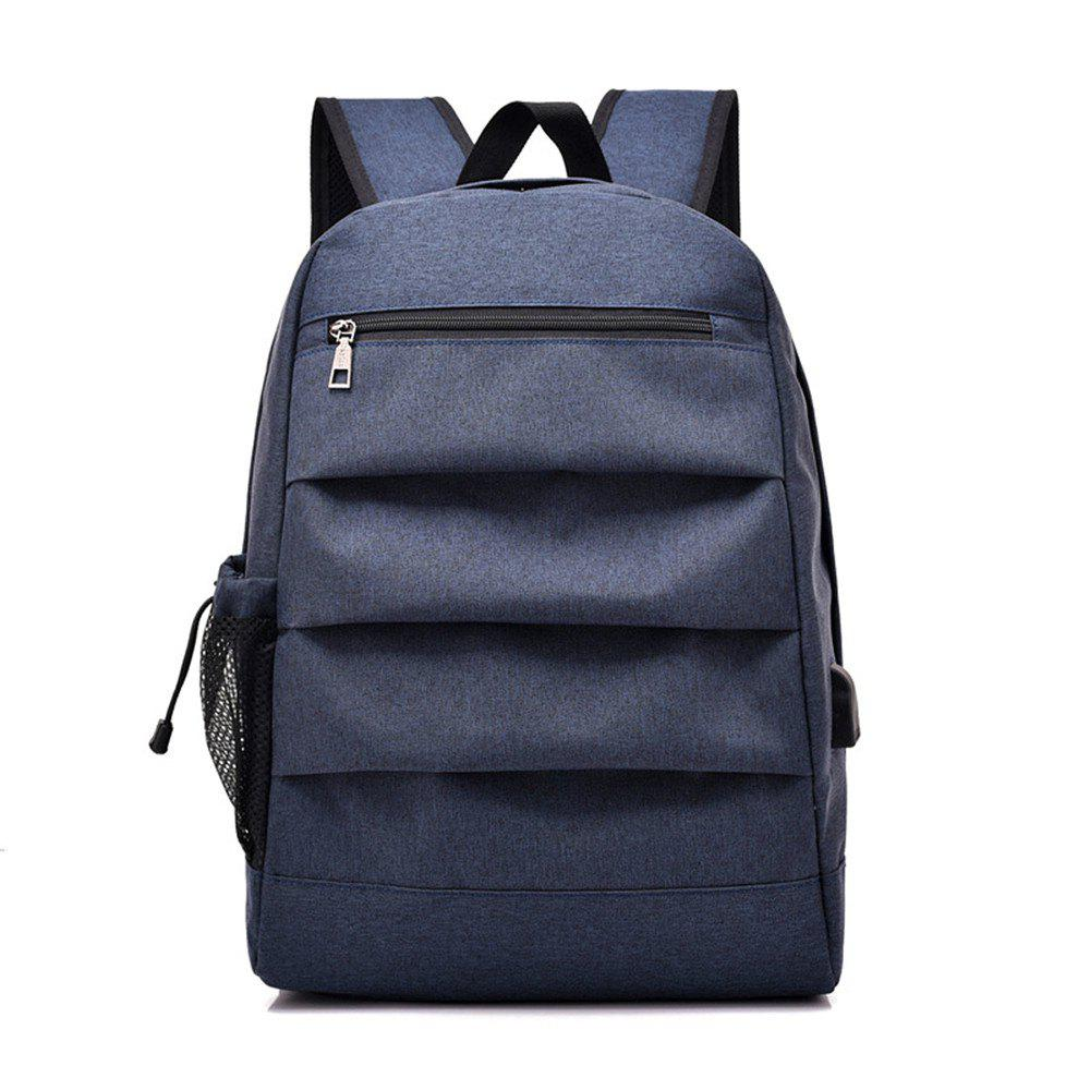 Male Charging Business Computer Travel Junior High School Students Backpack - BLUE