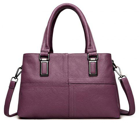 Female Portable Soft Leather Fashion Simple Messenger Shoulder Mother Bag - PURPLE