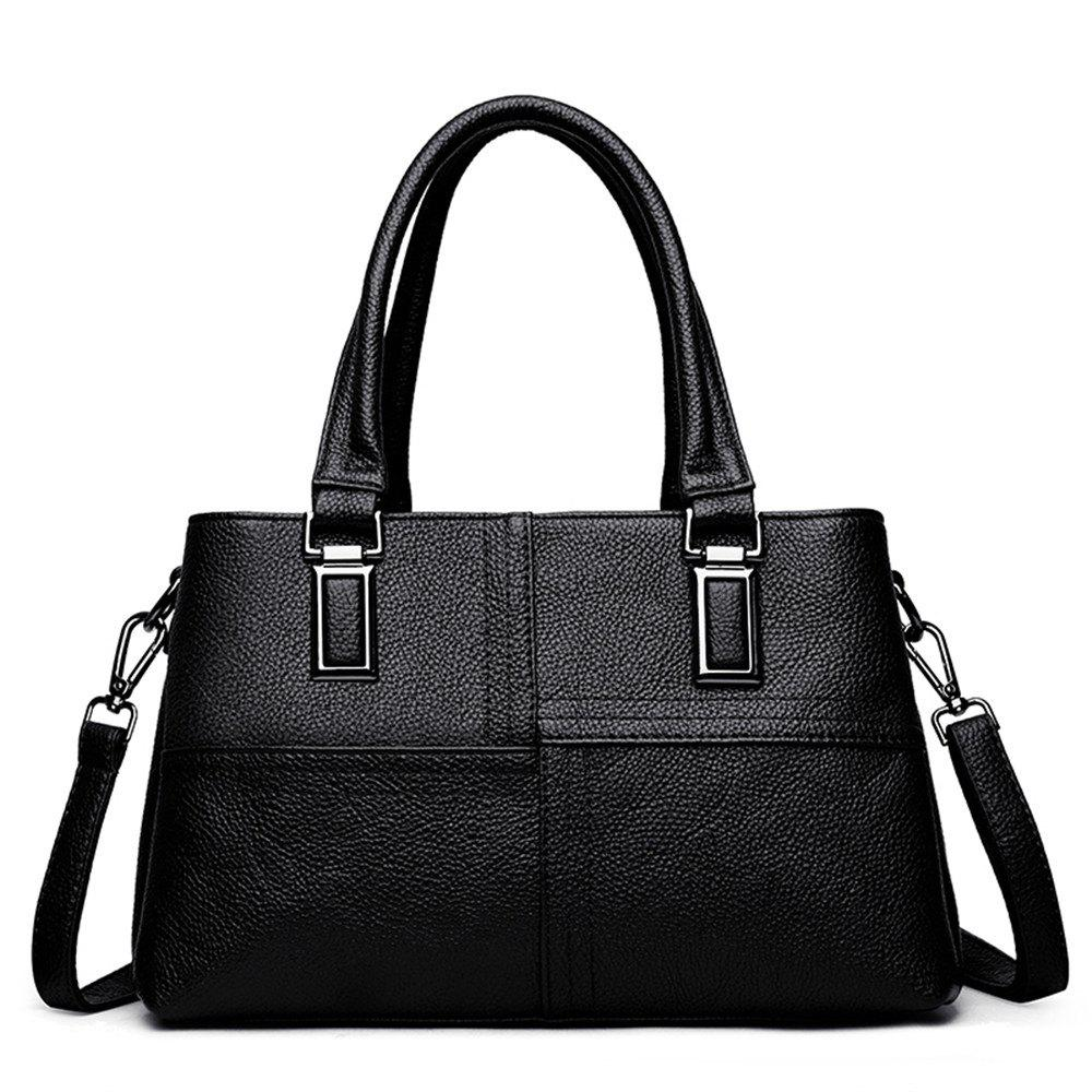 Female Portable Soft Leather Fashion Simple Messenger Shoulder Mother Bag - BLACK