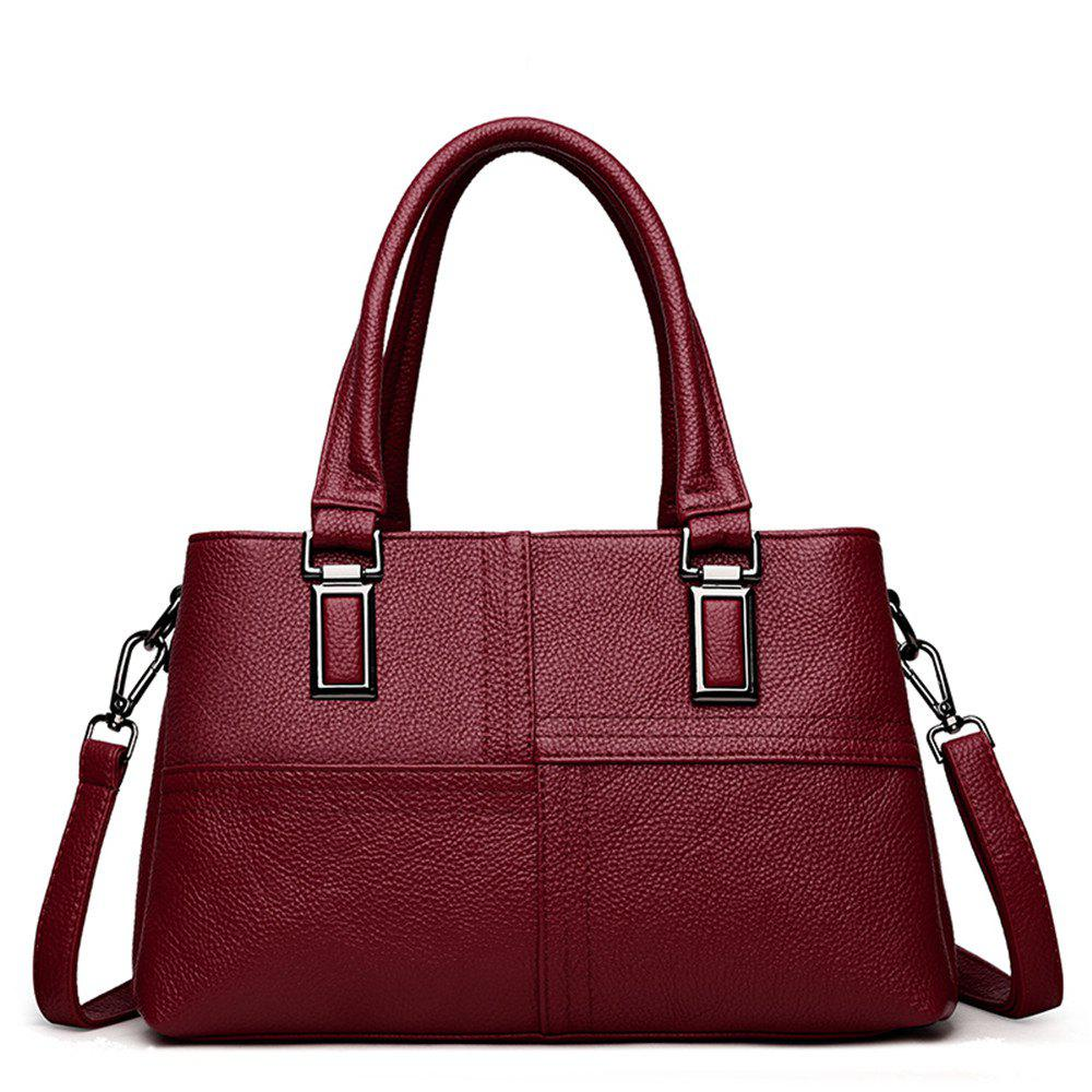Female Portable Soft Leather Fashion Simple Messenger Shoulder Mother Bag - BURGUNDY