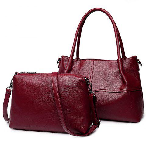 Two Pieces Female Fashion Shoulder Diagonal Portable Casual Handbags - RED