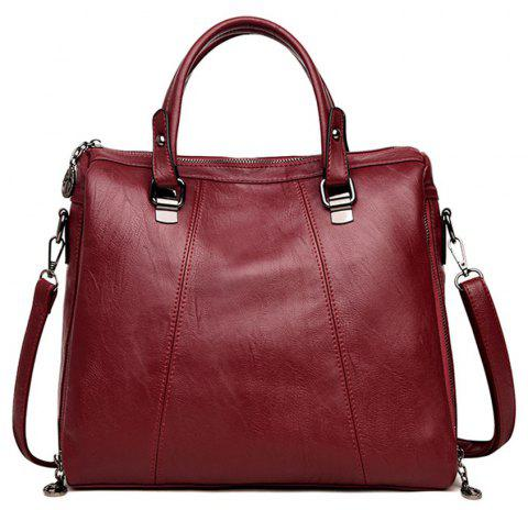 Female Fashion Wild Soft Leather Portable Shoulder Diagonal Bag - RED