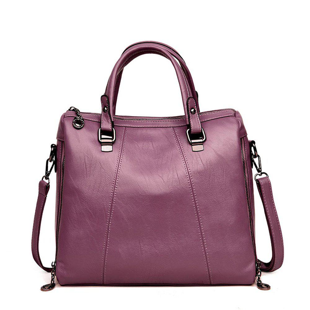 Female Fashion Wild Soft Leather Portable Shoulder Diagonal Bag - PURPLE