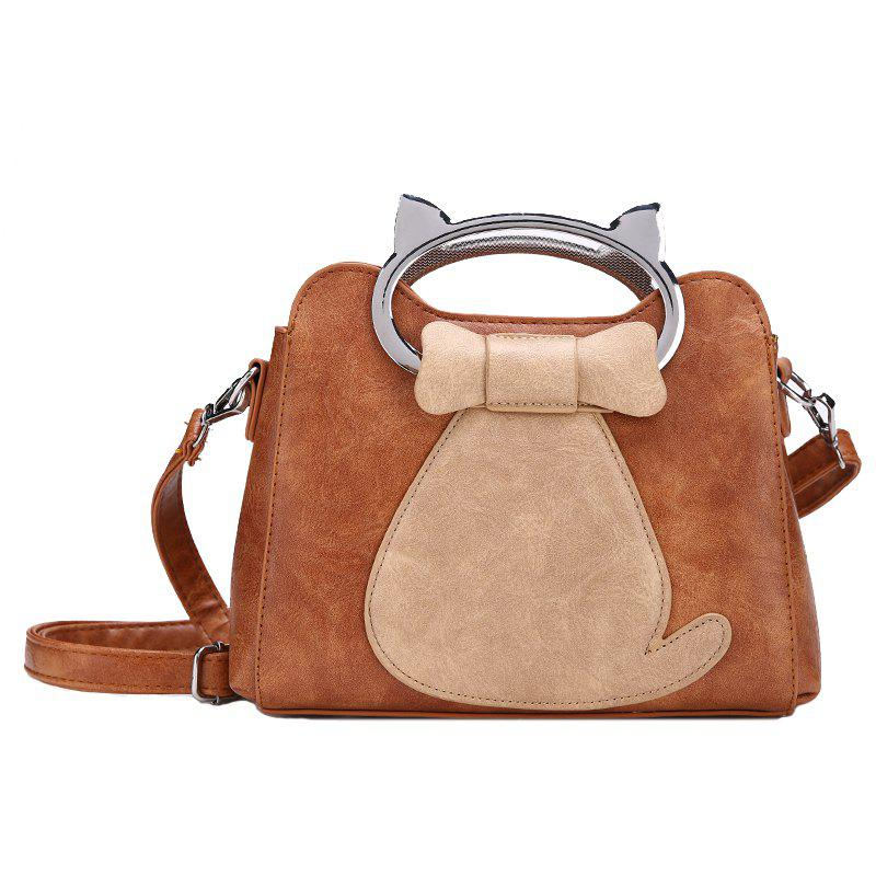 Portable Personalized Shoulder Messenger Bag - BROWN