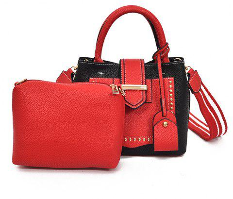 Women's Business Hand-riveted Shoulder Messenger Bag - RED