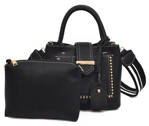 Women's Business Hand-riveted Shoulder Messenger Bag - BLACK