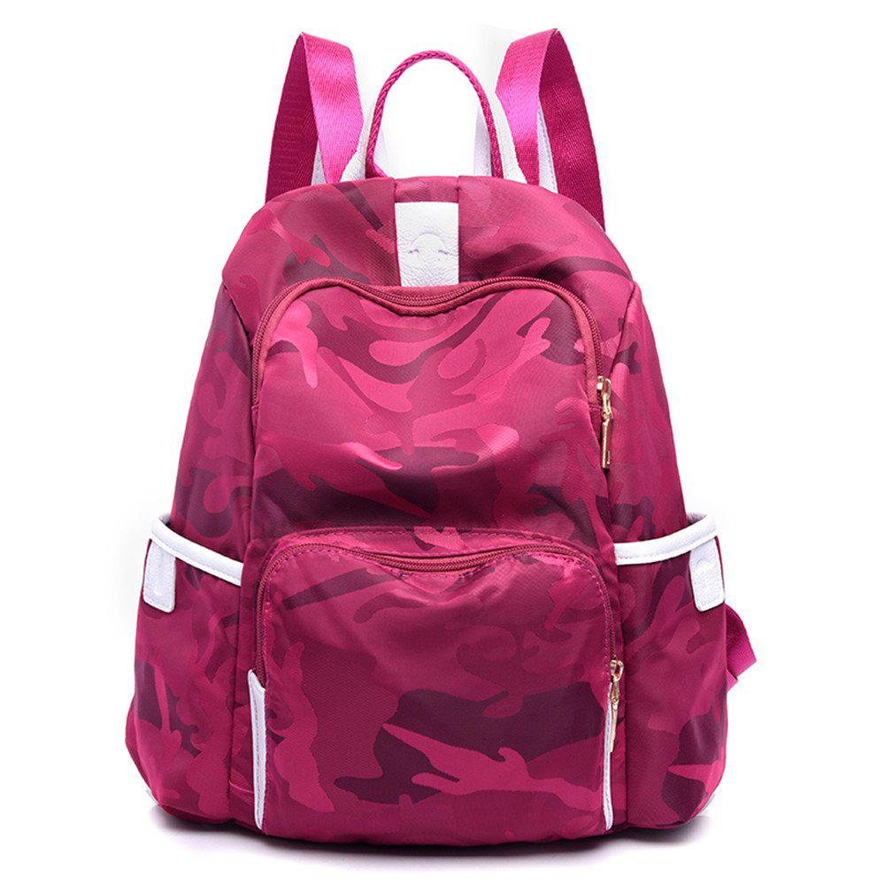 Backpack Women Canvas Wild Leisure Travel Oxford Cloth Travel Mummy - ROSE RED