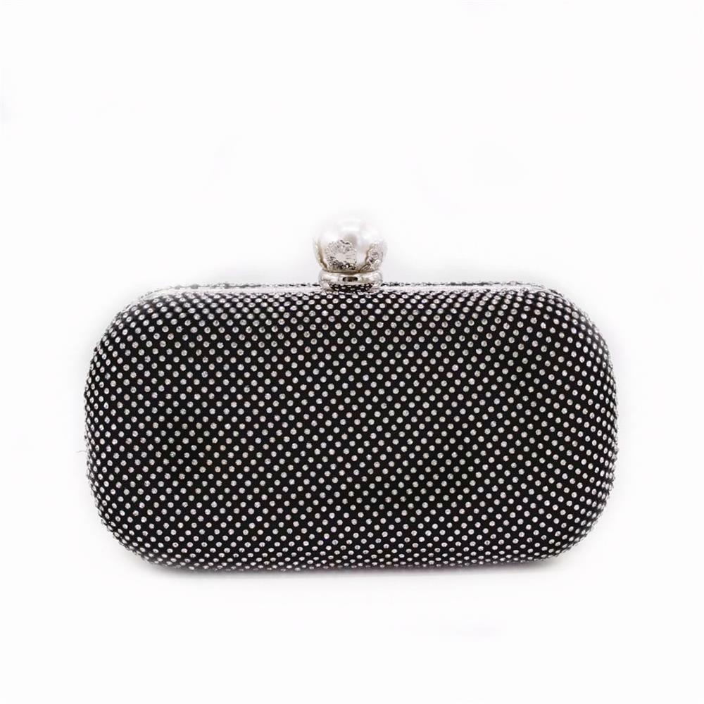 Rhinestones Women Evening Bags - BLACK