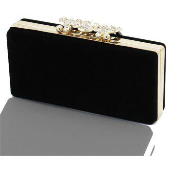 The Velvet with Diamond Evening Clutch Bag - BLACK