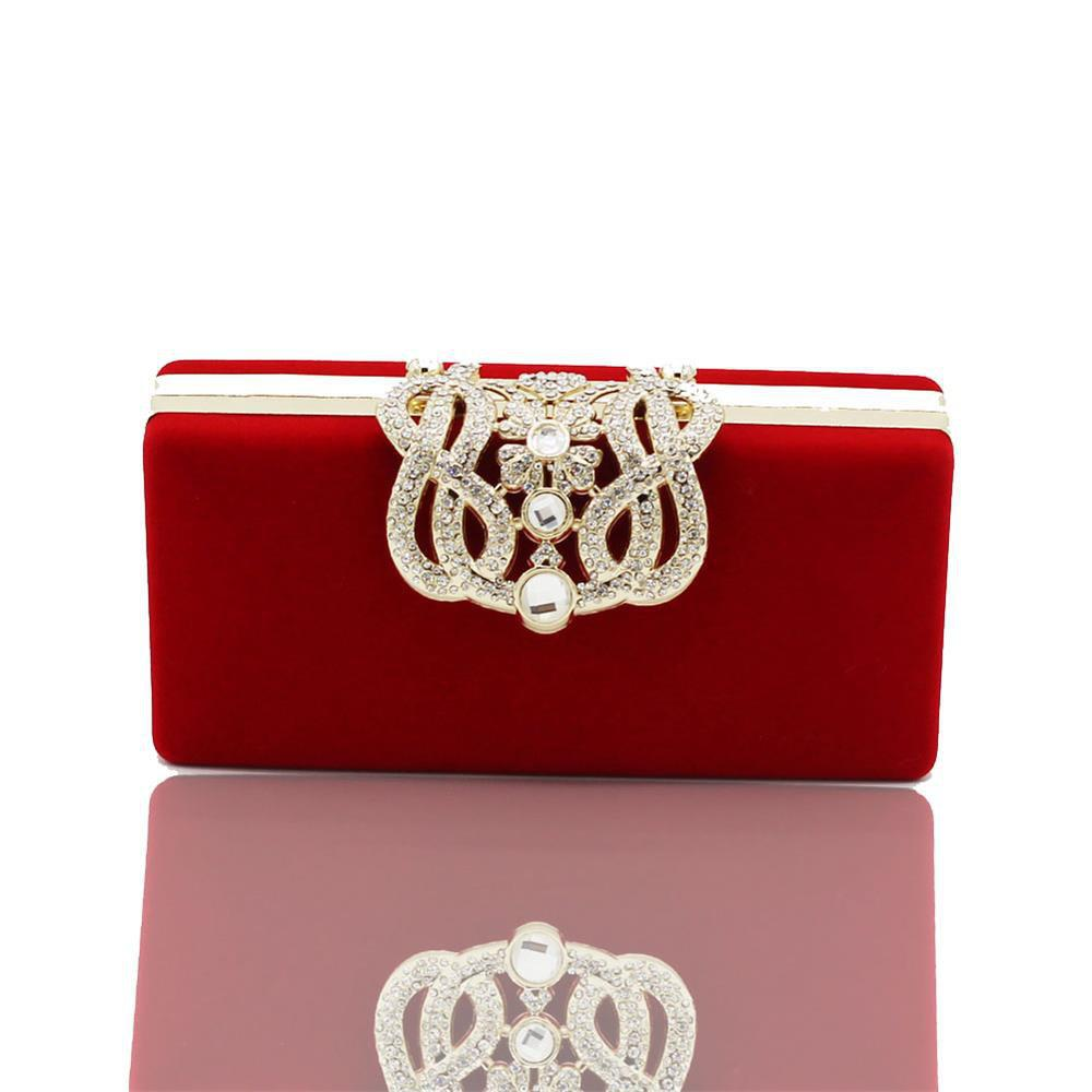 The Velvet with Diamond Evening Clutch Bag - RED