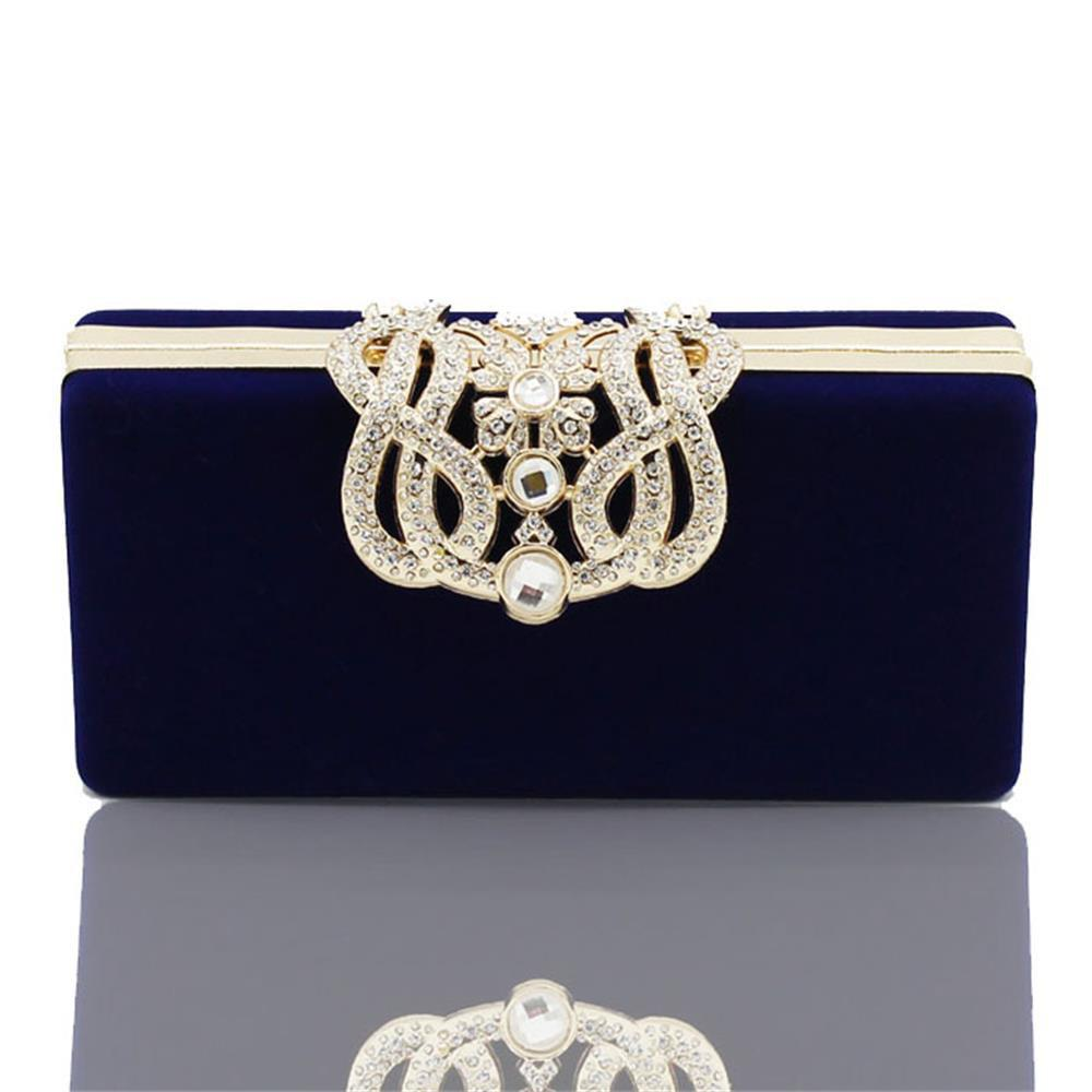 The Velvet with Diamond Evening Clutch Bag - BLUE
