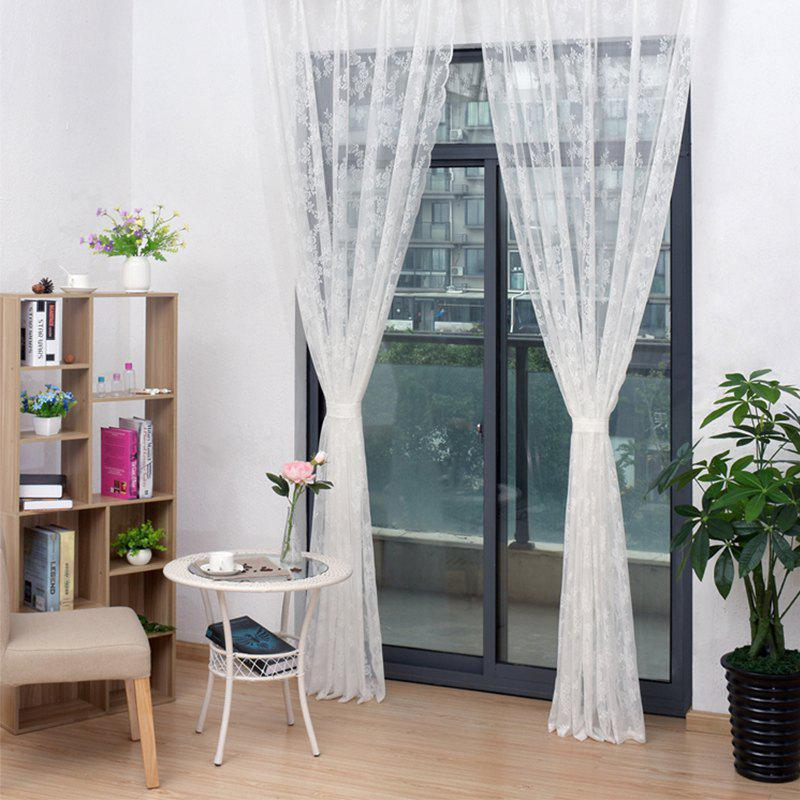 100 x 150cm Textile Venue Layout Decoration Hotel Curtain Partition Lace Curtains - WHITE