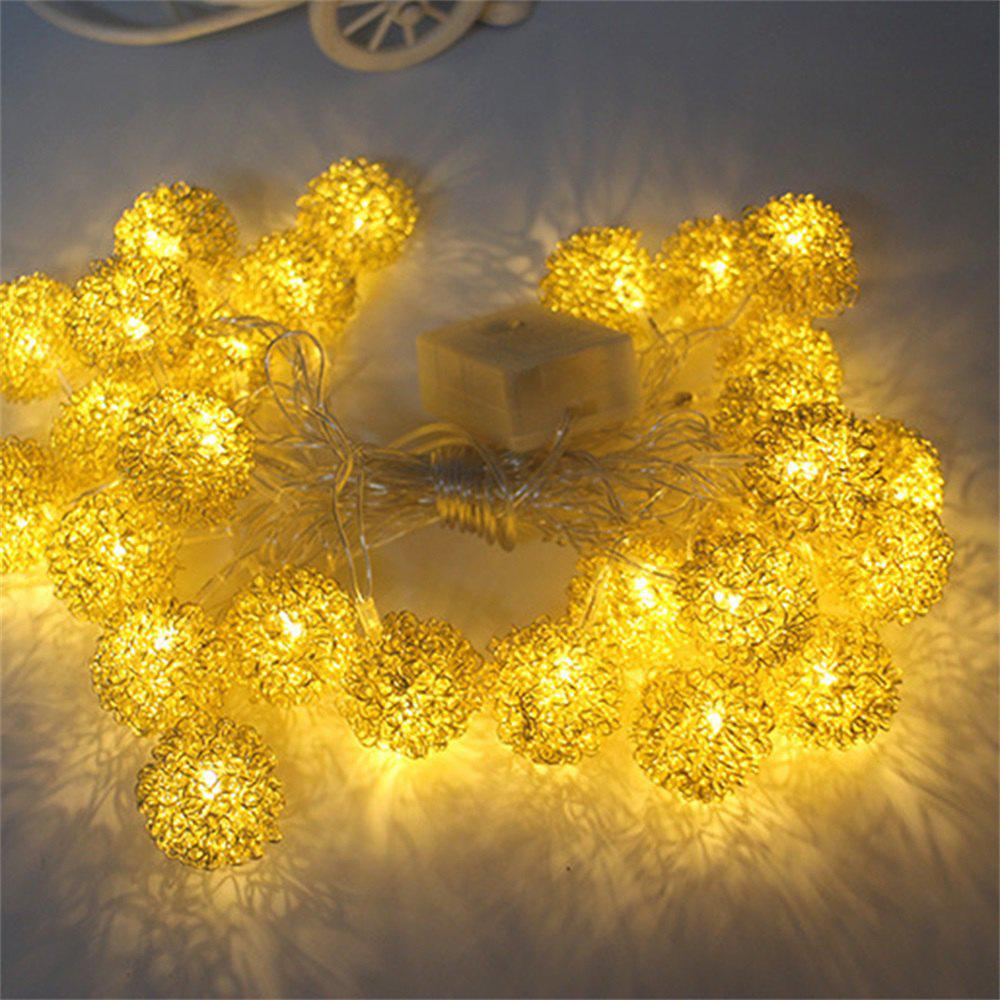 Metallic Iron Metal Ball Decorative String Lights - GOLDEN 2.5M