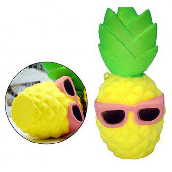 Pineapple with Cool Sunglasses Style Jumbo Squishy Slow Rising Toy for Kids Stress Relief - PINK