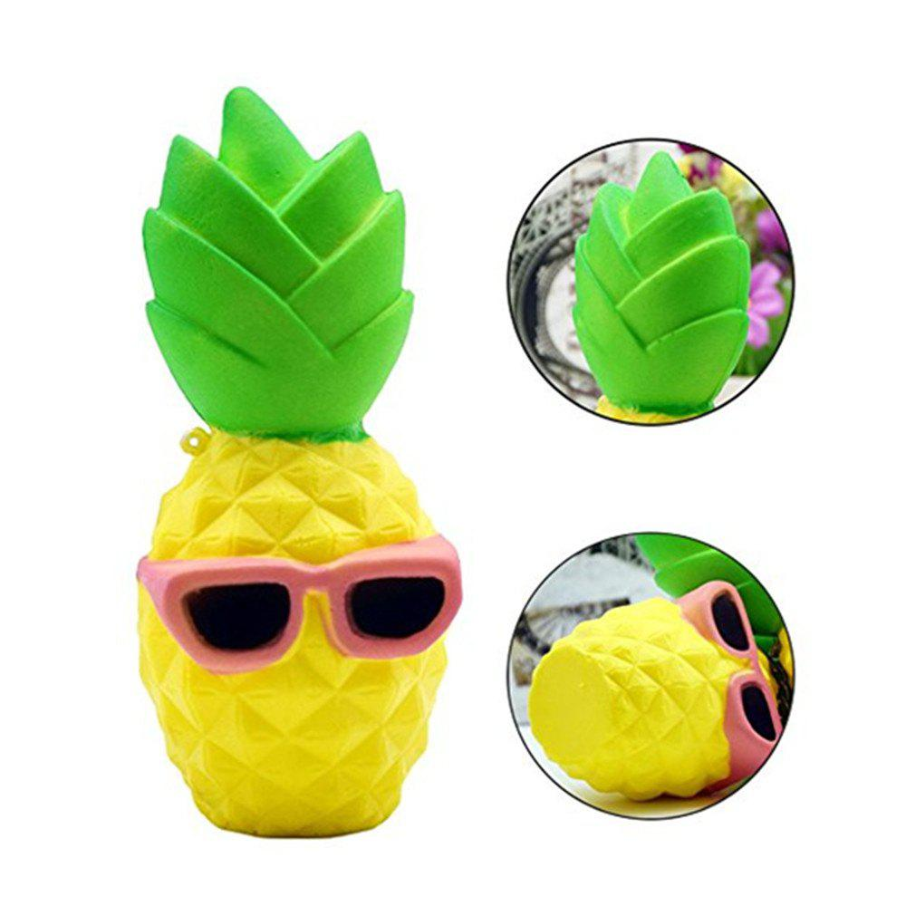 Pineapple with Cool Sunglasses Style Jumbo Squishy Slow Rising Toy for Kids Stress Relief realistic pineapple pu foam fruit squishy toy