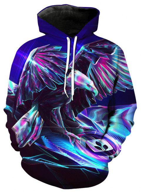 Fashionable Metal Eagle Print Hoodie - BLUE L